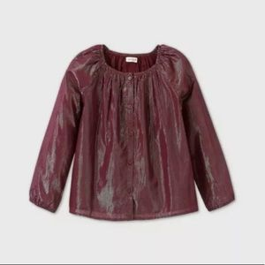 Girls long sleeve button front shine blouse